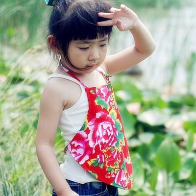 东北大花布-宝宝儿童夏季纯棉双层护肚肚兜 民族风格