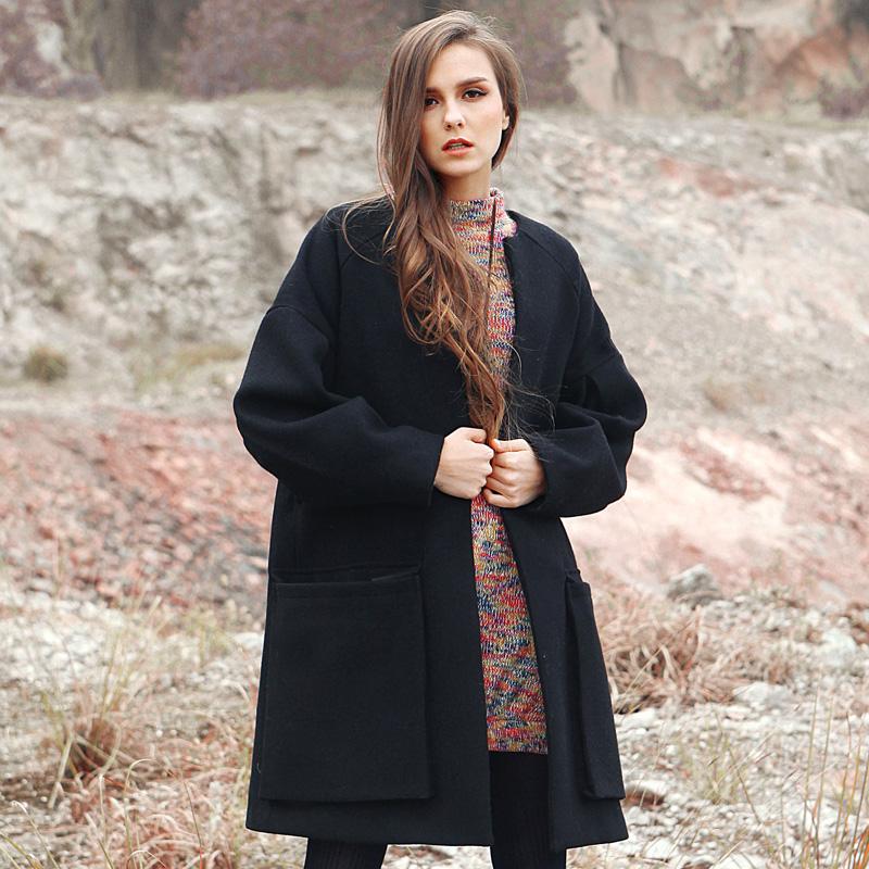 冬装欧美BF风呢子羊毛大衣2014中长款宽松毛呢外套女加棉加厚棉衣