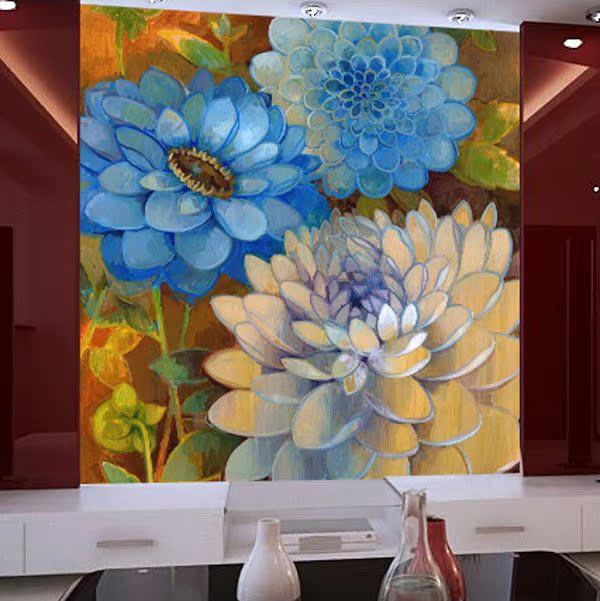 大型壁画客厅卧室欧式简约电视墙背景墙纸壁纸 花生花 定制款