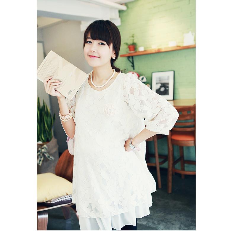 2015春装新款孕妇连衣裙 韩版大码孕妇 花瓣蕾丝时尚孕妇连衣裙