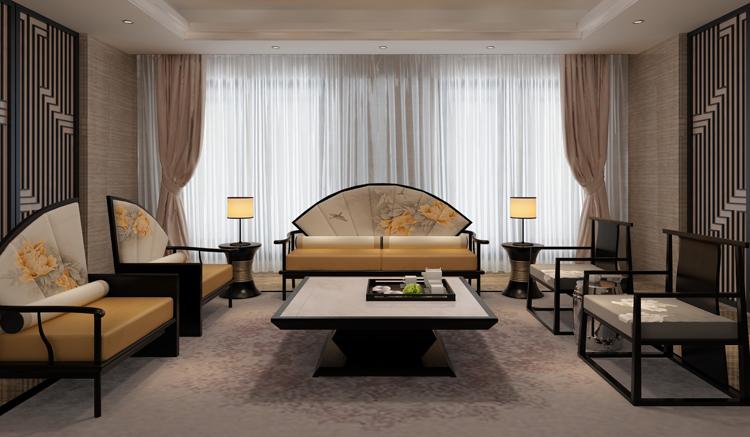 新中式沙发 水曲柳实木扇形单人沙发 婚纱摄影楼沙发个性创意家具
