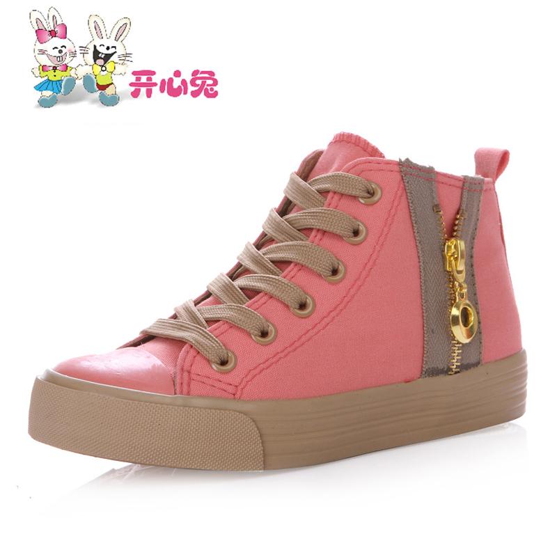 开心兔儿童高邦帆布鞋 女童女宝宝透气轻便舒适高邦帆布鞋单鞋