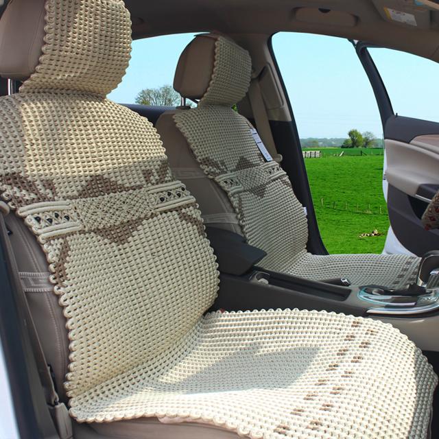 汽车坐垫 夏季正品手编冰丝座垫四季通用粉红色凉垫现代雅阁别克