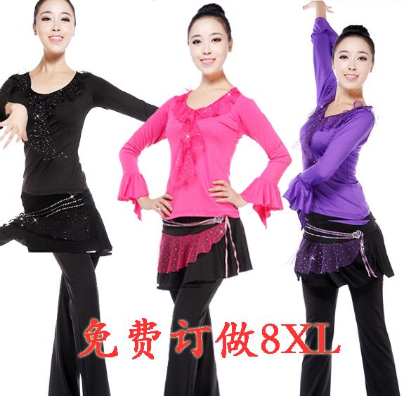 春季广场舞服装 新款套装加绒加厚长袖上衣亮片裙裤款拉丁舞套装