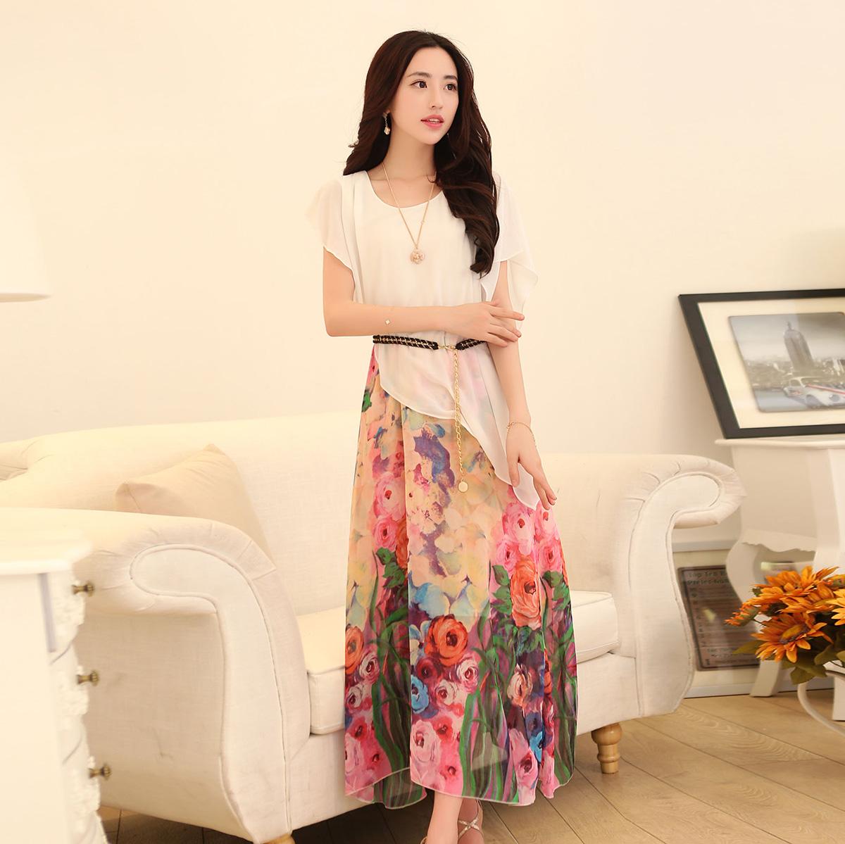 2014夏季最新款波西米亚印花长裙女士气质休闲长裙,配皮带包邮