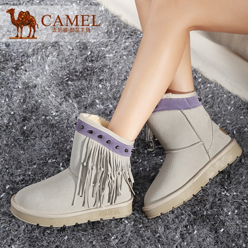 骆驼雪地靴女2014新款真皮加绒保暖 铆钉流苏圆头平底棉靴子包邮