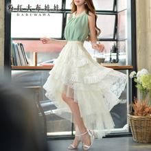 半身长裙 粉红大布娃娃2017新款夏季女装蕾丝蓬蓬前短后长半裙图片