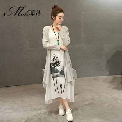 春夏季2016新款民族风长裙两件套女装复古水墨印花连衣裙休闲套装