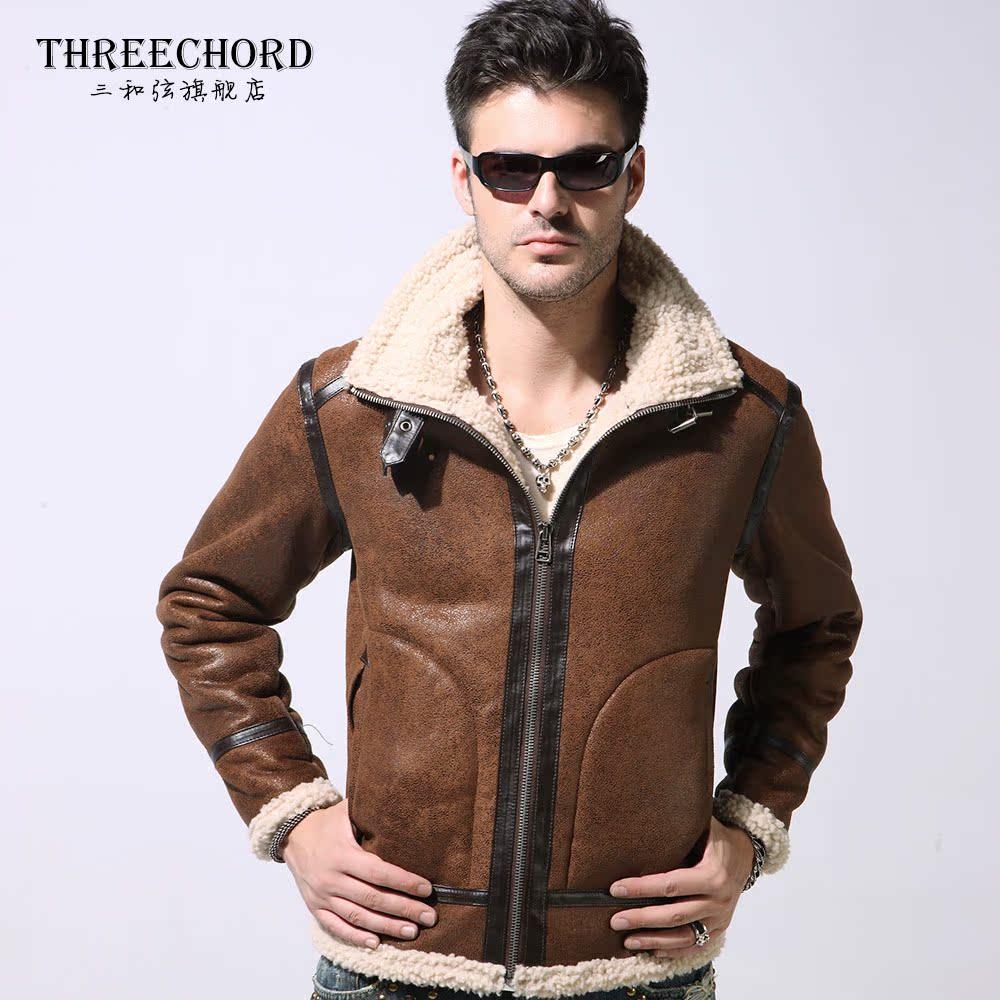 正品男装夹克 时尚立领麂皮绒皮毛一体皮衣男士短款外套仿皮皮衣