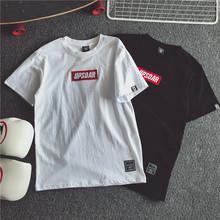 韩版学生白色刺绣短袖T恤女潮 2017夏装半袖新款原宿BF宽松情侣装