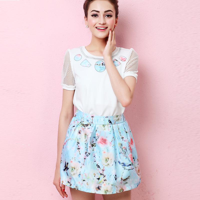 花田宝 2015春夏新款印花图案两件套雪纺连衣裙 套装夏季女裙子