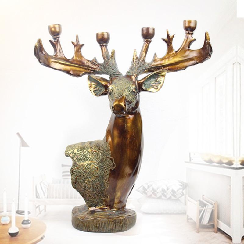 创意欧式复古仿铜鹿头蜡烛台浪漫烛光晚餐厅装饰餐厅