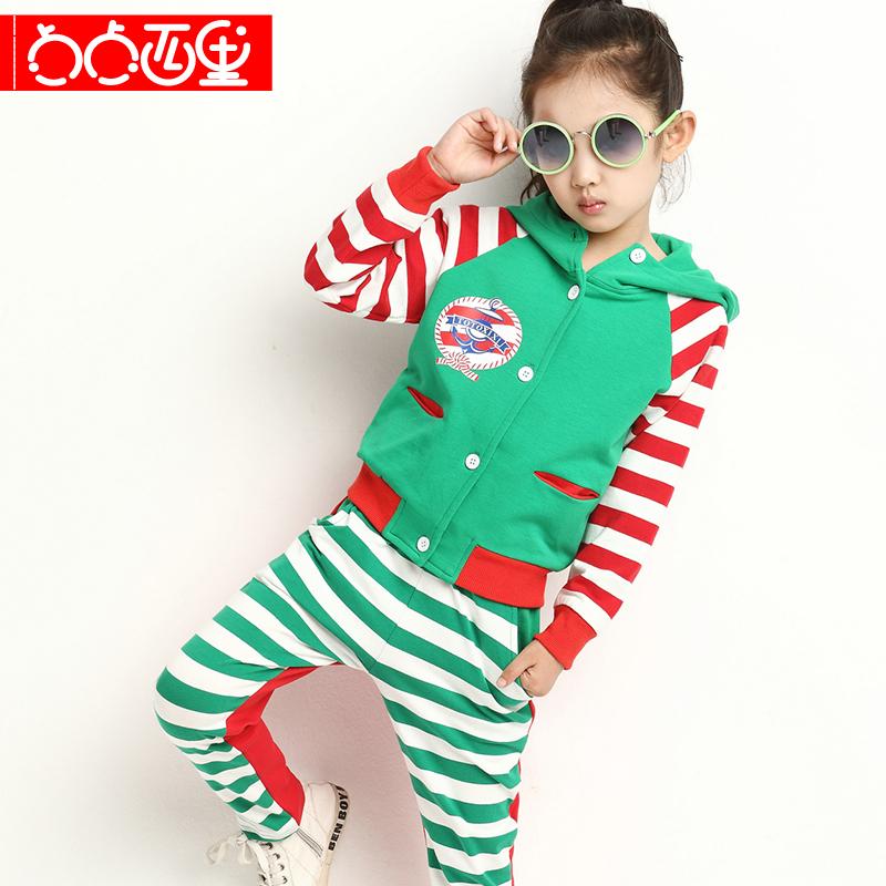 品牌潮儿童装女童男童秋装秋款套装2014新款韩版休闲运动条纹衣服