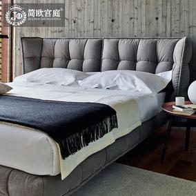 简欧宫庭北欧简约现代布艺床1.8米双人实木婚床可拆洗小户型布床