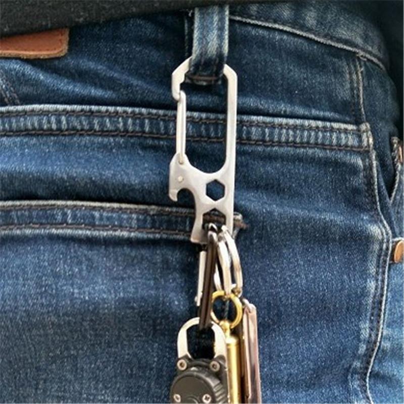 不锈钢多功能挂扣带开瓶器扳手登山扣组合工具装备户外EDC钥匙扣