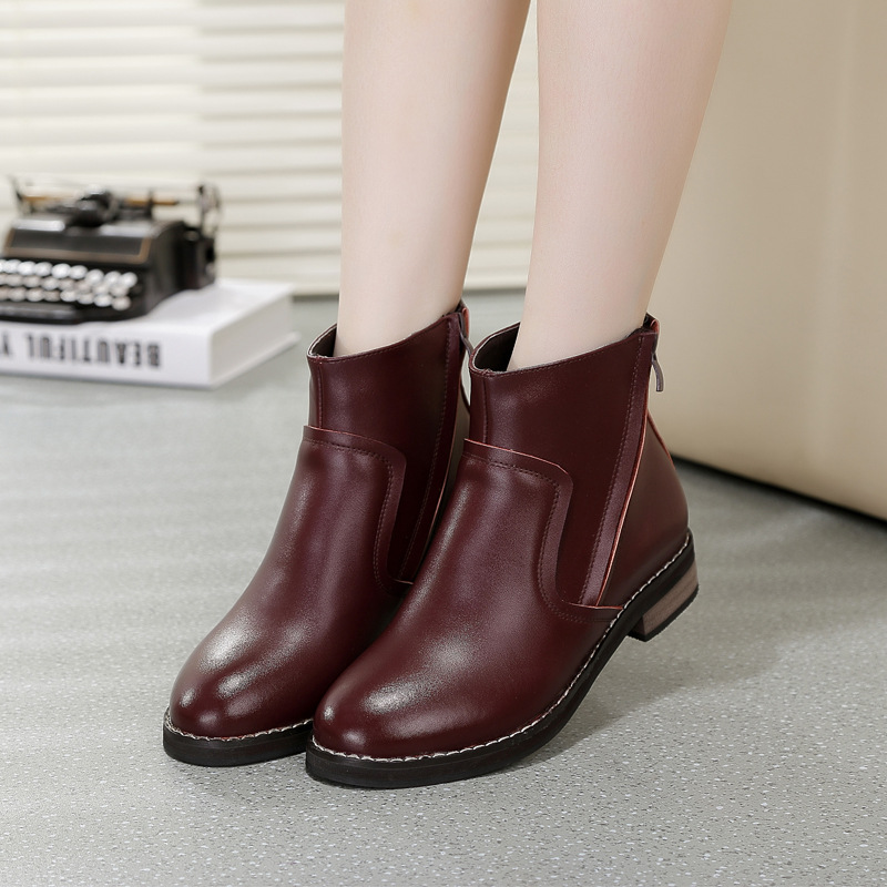 2014新款靴子女真皮单靴平底短靴时尚厚底秋冬双拉链马丁靴欧美潮