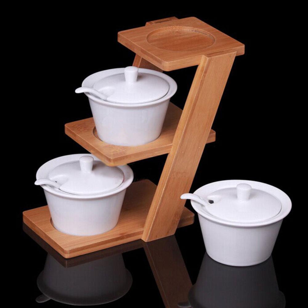 号百创意三层调味罐套装带层竹架厨房餐厅酒店实用调料罐