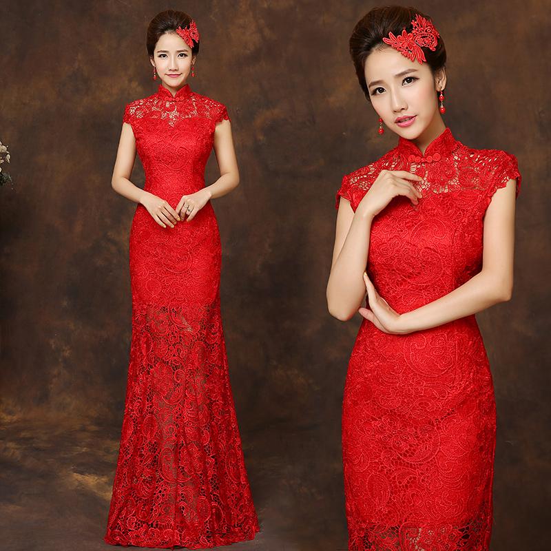冬季敬酒服红色结婚新娘旗袍2014新款长袖冬装旗袍长款晚礼服宴会
