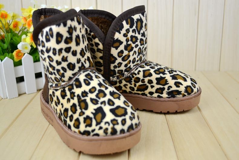 包邮 2014冬韩国 豹纹雪地靴 男女保暖 橡胶底小童棉靴 爆款