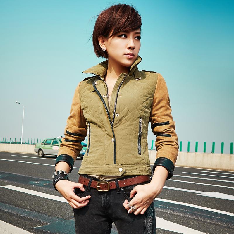 橡菲205春装新款 女士韩版时尚棉服 修身短款小外套拼接磨砂面