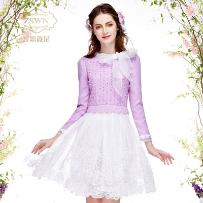 珍思薇尼2016春装新款女装大码长袖假两件套连衣裙修身拼接公主裙