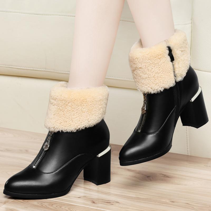 古奇天伦女靴 粗跟高跟女短靴 冬季保暖棉鞋 尖头时尚性感女靴子