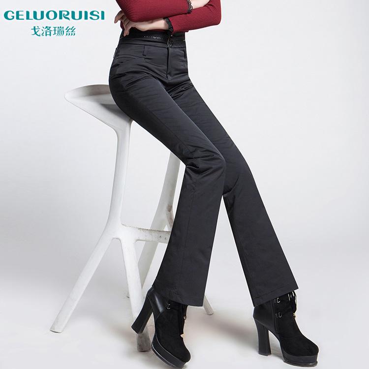 戈洛瑞丝女裤2014冬款微喇羽绒裤女外穿显瘦中高腰加厚棉裤保暖裤