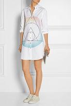 特 限时打折 美国品牌 MJ 抽像印花图案 修身中长款衬衣裙衬衫女