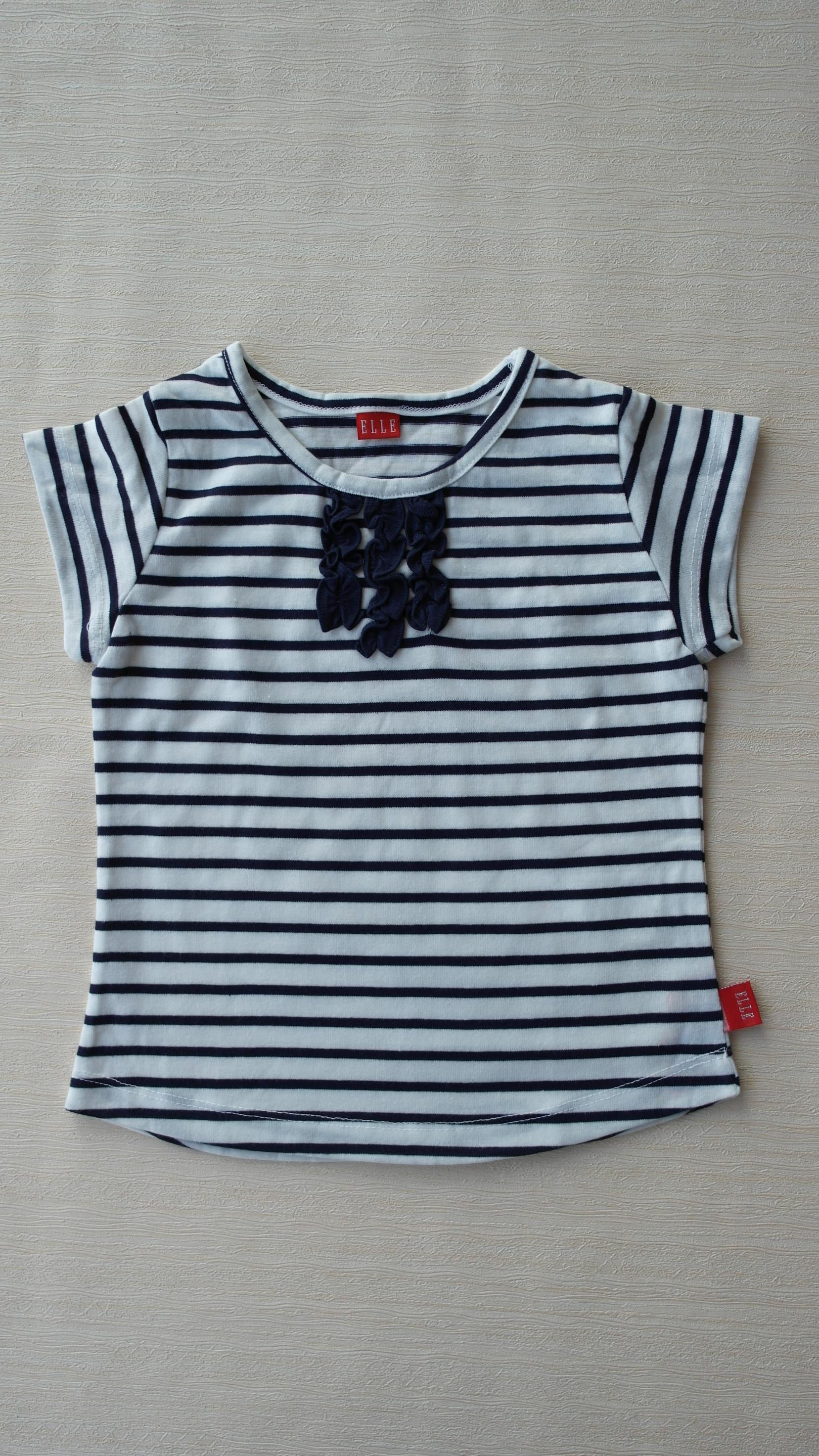 韩国阿卡邦旗下basic elle 品牌,女童圆领纯棉条纹T恤
