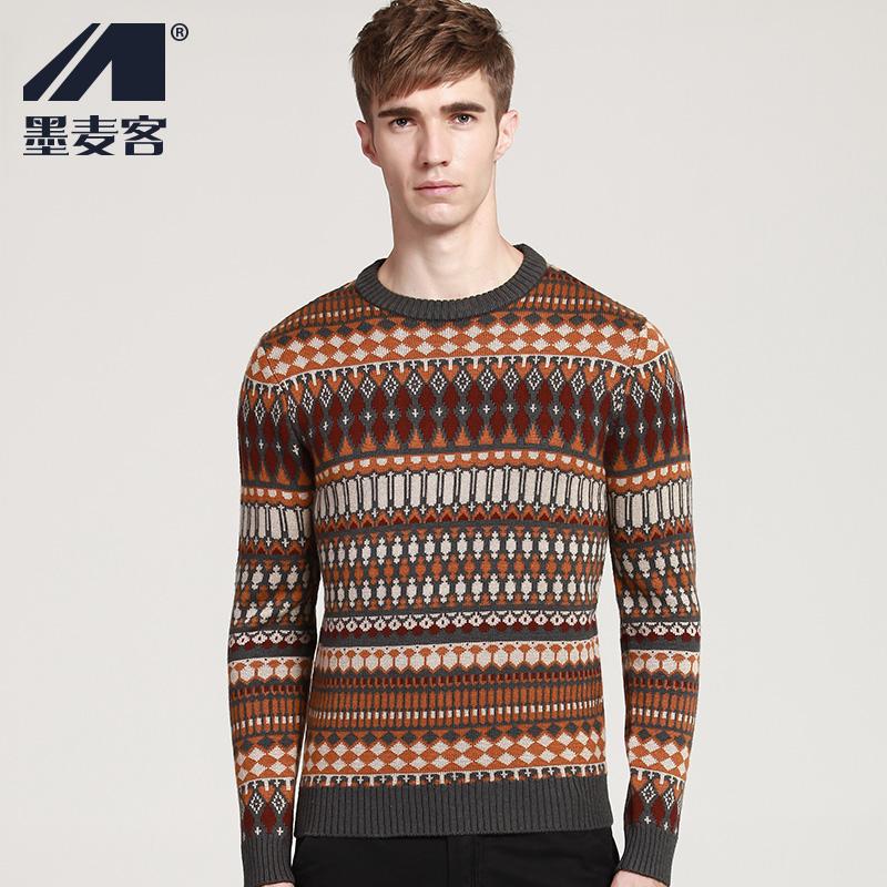 热卖墨麦客男士毛衣羊毛衫 套头圆领提花加厚线衫针织衫秋冬线衣