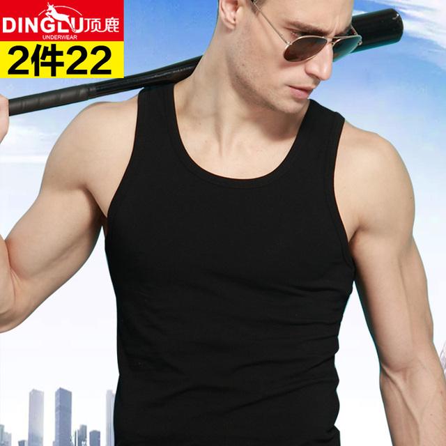 型运动健身弹力跨栏工字宽松白色潮 纯棉背心打底紧身青年修身 男士