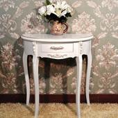 法式奢华高档玄关半圆桌子欧式象牙白色玄关台边桌简约现代