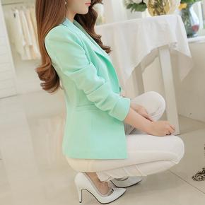 彩黛妃2015春夏新款韩版修身大码长袖显瘦女士气质休闲百搭小西装