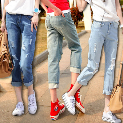 [韩国代购] 薄款bf风夏季大码9分破洞牛仔短裤 女装显瘦直筒宽松九分裤7分裤