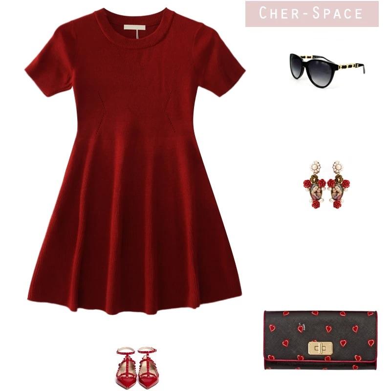 时尚红色针织裙 三款入