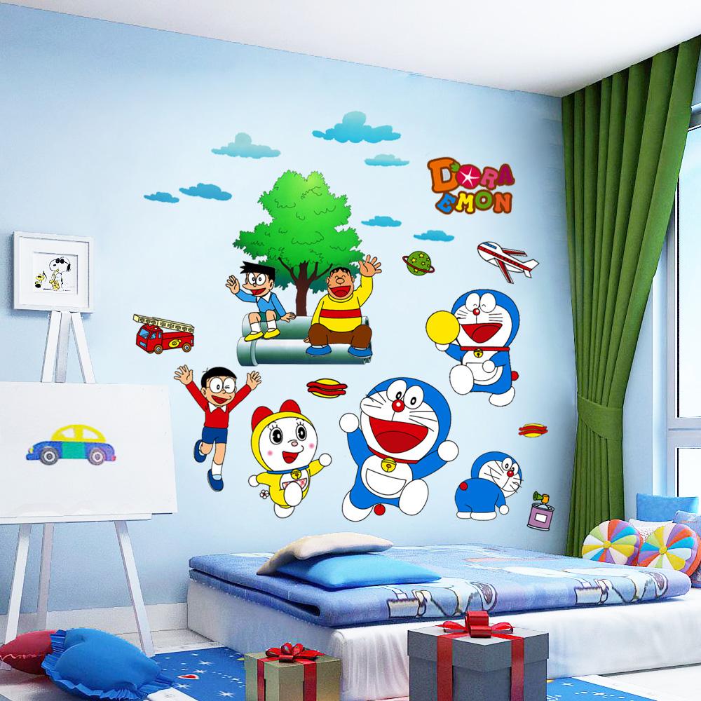 卡通动漫儿童房墙贴宝宝卧室床头墙壁贴纸装饰机器猫墙纸贴画自粘