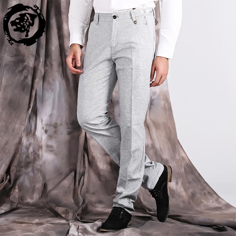 会员购冬上新透气弹力直筒休闲裤 男 黑色商务休闲长裤 男士修身