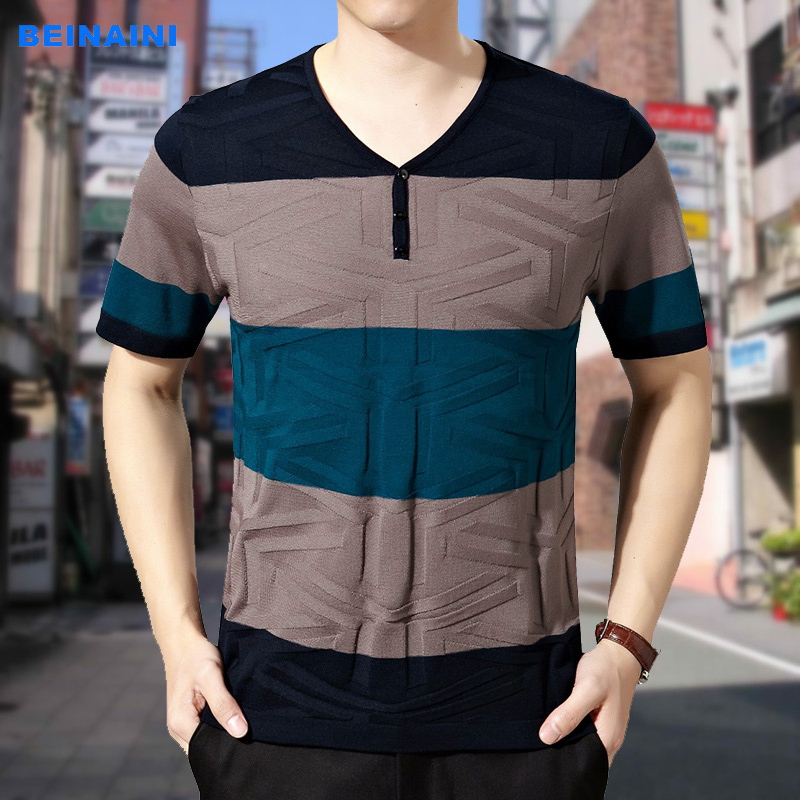 爸爸装夏季新款年轻男士短袖t恤半袖衫男装v领休闲针织衫