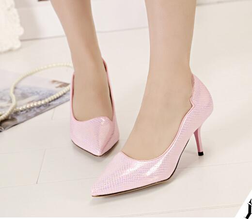 春季新款女单鞋职业女士细跟尖头女单鞋糖果色优雅女士浅口女鞋子