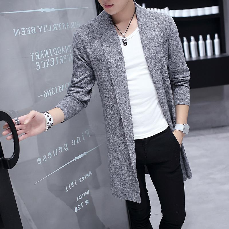 長款男韓版中毛衣夏季男士開衫外套空調針織夏裝