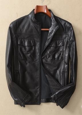 [火热促销] 米兰蝶系 新西兰细腻山羊皮 男士修身立领真皮皮衣外套