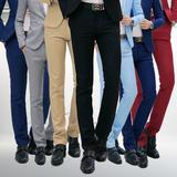 男士西裤春季修身型商务休闲宽松中青年职业黑色夏西服正装长裤子