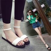 欧美夏季平底学生韩版凉鞋一字扣女式罗马鞋夏天平跟露趾女鞋潮