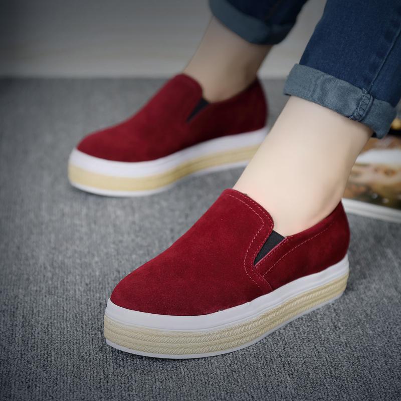 鞋厚底懶人春季女鞋牛皮腳蹬平底休閑舒適反絨鞋一