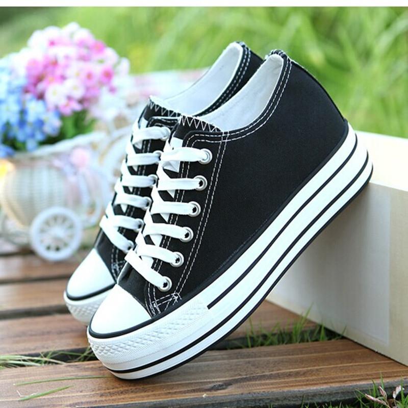 蓓尔新款女内增高帆布鞋女韩版松糕厚底鞋回力低帮平底小码学生鞋