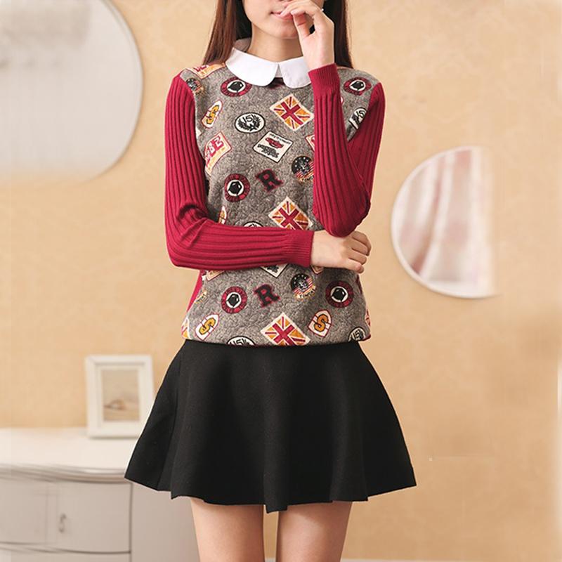 秋装女长袖衬衣领假两件套毛衣衬衫拼接娃娃领打底针织衫修身印花