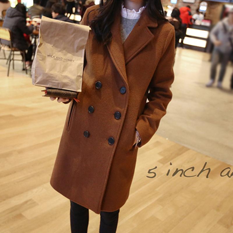 2014秋冬新款女装韩版气质修身中长款大码双排扣毛呢外套大衣风衣
