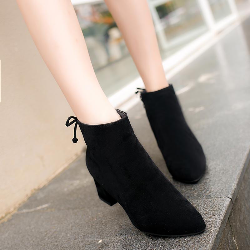 靴子女冬高跟短靴女冬马丁靴粗跟裸靴切尔西靴磨砂皮短靴子女靴