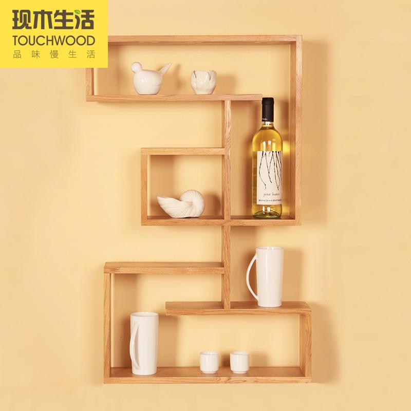 纯实木橡木 墙上置物架 机顶盒架 搁板 创意壁挂 图书收纳架 浴室
