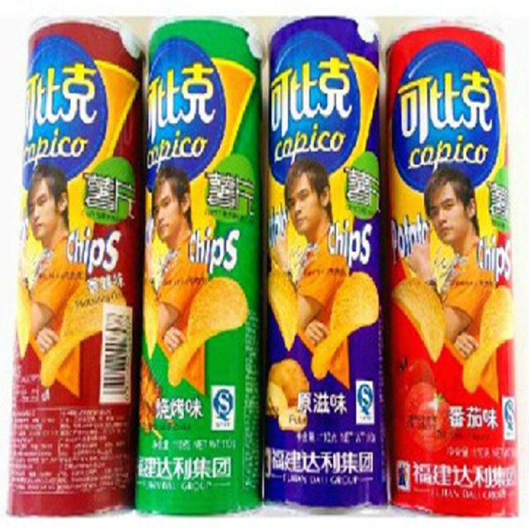 可比克薯片105g*4罐番茄原味香辣烧烤牛肉小食品零食批发29.9包邮